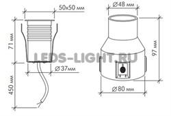 Грунтовый светодиодный светильник B2AS0106 DC24V 3.6W 30' IP67 RGB (3 in 1) схема