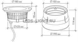 Грунтовый светодиодный светильник C2V1205 DC24V 18W RGB (3 in1) IP67 (асимметричная линза) схема